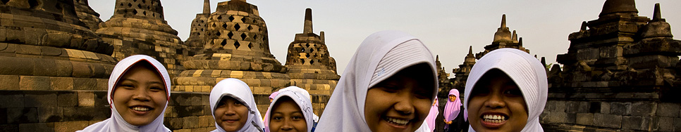Students at the Borobodur temple