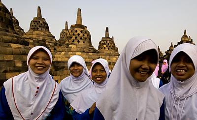 Students at the Borobodur temple